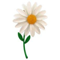 Vintage 1960's daisy flower enamel Brooch