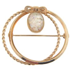 Signed Van Dell gold filled double circle Brooch with opal chip cabochon