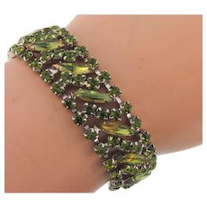 Vintage 1960's link Bracelet with unusual olivine colored rhinestones