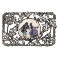 Vintage pot metal Brooch with rhinestones and center porcelain courting scene