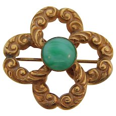 Edwardian love knot small Brooch with center opaque green glass cabochon