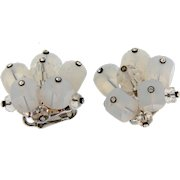 Vintage clip on Earrings with opalite cubes, crystal beads and rhinestones