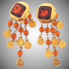 Vintage large clipback Earrings with long dangling faceted crystal beads in amber tones