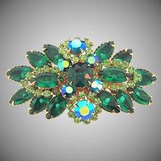 Beautiful 1960's rhinestone Brooch in shades of green