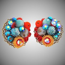 Signed Hobe 1960's clip back Earrings with colorful beads and rhinestones