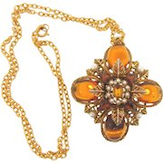 Signed Art large pendant Necklace with amber rhinestones, glass cabochons and imitation pearls in a Renaissance design