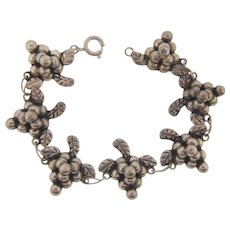Marked sterling 925 Mexico link Bracelet with grape clusters