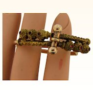 Victorian gold filled Bypass Bracelet with tiny garnets in an Etruscan design