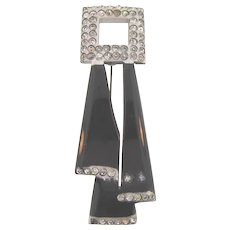 Vintage early plastic unusual  Art Deco brooch with crystal rhinestones