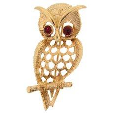 Signed vintage Avon figural owl Brooch