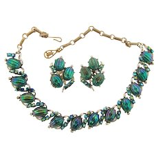 Signed Coro gorgeous choker Necklace and clip back Earrings in blue/green iridescent colors