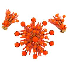 Vintage 1950's atomic Brooch and clip back Earrings with composition beads in bright orange