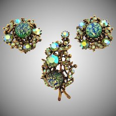 Signed Hollycraft COPR 1958 Brooch and clip back Earrings with green faux Dragon's Breath and AB rhinestones