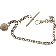 Vintage Albert T bar Watch Chain with ornate ball fob