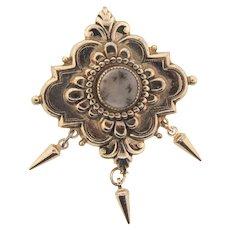 Signed Pegasus Coro Victorian Revivial style Brooch with center Dendritic Quartz stone