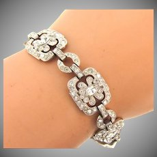 Vintage 1940's Retro link Bracelet with crystal rhinestones