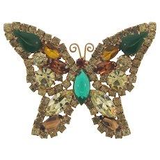 Vintage Juliana D&E figural rhinestone Butterfly Brooch in fall colors