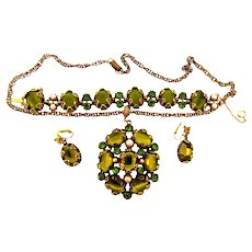 Signed Hollycraft pendant Necklace, Bracelet and clip back Earrings in shades of green and imitation pearls