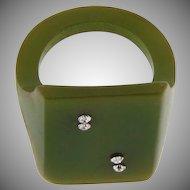 Bakelite figural Ring designed as a die #2 with crystal rhinestones