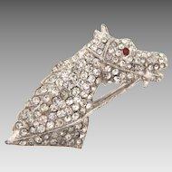 Vintage 1950's white metal horse head Brooch with pave set crystal rhinestones