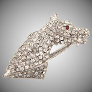Vintage 1950's white metal horse head Brooch with pave set crystal rhinestones