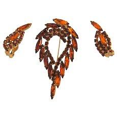 Vintage 1960's rhinestone Brooch and clip back Earrings in fall rhinestone shades