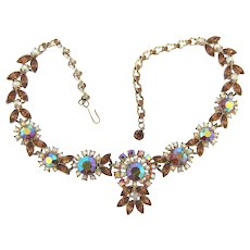 Vintage 1960's choker Necklace in fall shades of topaz and AB rhinestones