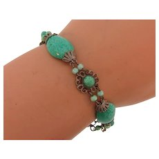 Vintage delicate peking glass link Bracelet