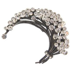 Lovely vintage Brooch with a spray of crystal rhinestones in a gun metal finish frame