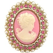 Signed Dodds vintage large faux cameo Brooch with pink rhinestones and imitation pearls