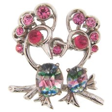 Signed Hollycraft small double bird Brooch with pink rhinestones and givre stones