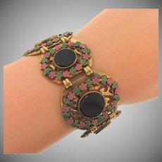 Vintage link Bracelet with enamel flowers and black composition disks