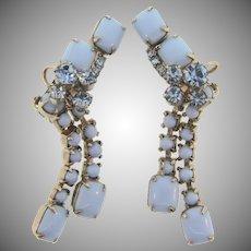 vintage Juliana D&E dangling clip back Earrings in shades of blue