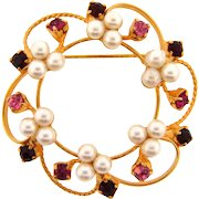 Vintage open gold tone wire Brooch with imitation pearls and rhinestones