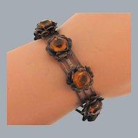 Vintage link copper tone floral Bracelet with amber glass stones