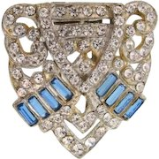 Art Deco Dress Clip patent dated to 1933 with crystal and blue rhinestones