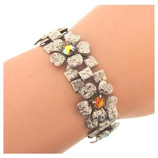 Vintage floral link Bracelet with rhinestones