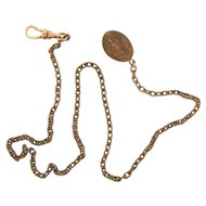 Early gold tone Watch Chain with clip