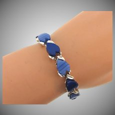 Vintage thermoset link Bracelet in blue shades