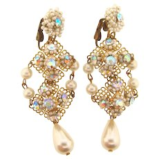 Vintage filigree chandelier clip back Earrings with imitation pearls and AB rhinestones