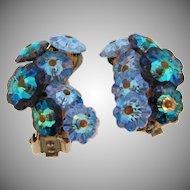 Vintage clip back earrings with rows of blue margarite rhinestones