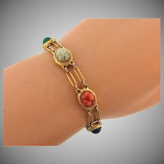 Signed Goldette NY link Bracelet with stone scarabs