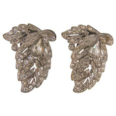 Art Deco 1930's dress clips in a leaf design with crystal rhinestones
