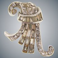 Signed CoroCraft 1930's Art Deco fur clip with crystal rhinestones