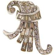 Signed CoroCraft 1930's Art Deco fur clip with crystal rhinestones