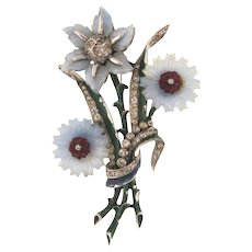 Gorgeous 1940's large floral Brooch with molded glass petals and crystal rhinestones