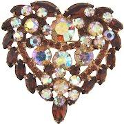 Juliana D&E 1960's heart shaped rhinestone Brooch topaz and AB hues