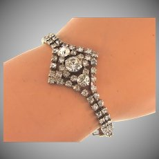 Vintage crystal rhinestone double strand Bracelet
