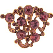 Smaller Art Deco gold wash Dress Clip with purple rhinestones