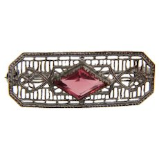 Small vintage silver tone filigree Scatter pin with pink glass stone